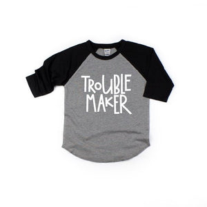 Trouble Maker - Grey/Black Raglan-Little Hooligans Co.