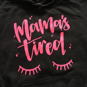 Mamas Tired - Dark Grey + Hot Pink Unisex Hoodie-Little Hooligans Co.