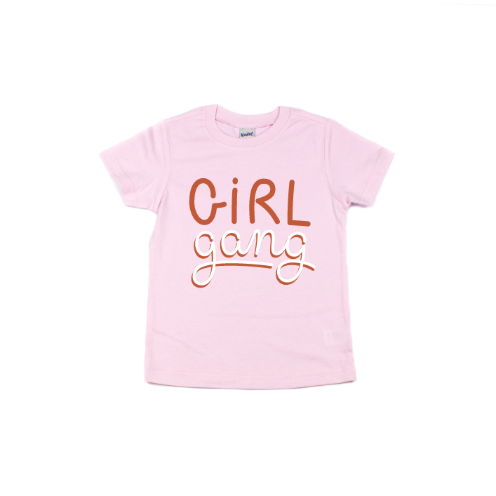 Girl Gang - Kids Pink Tee-Little Hooligans Co.