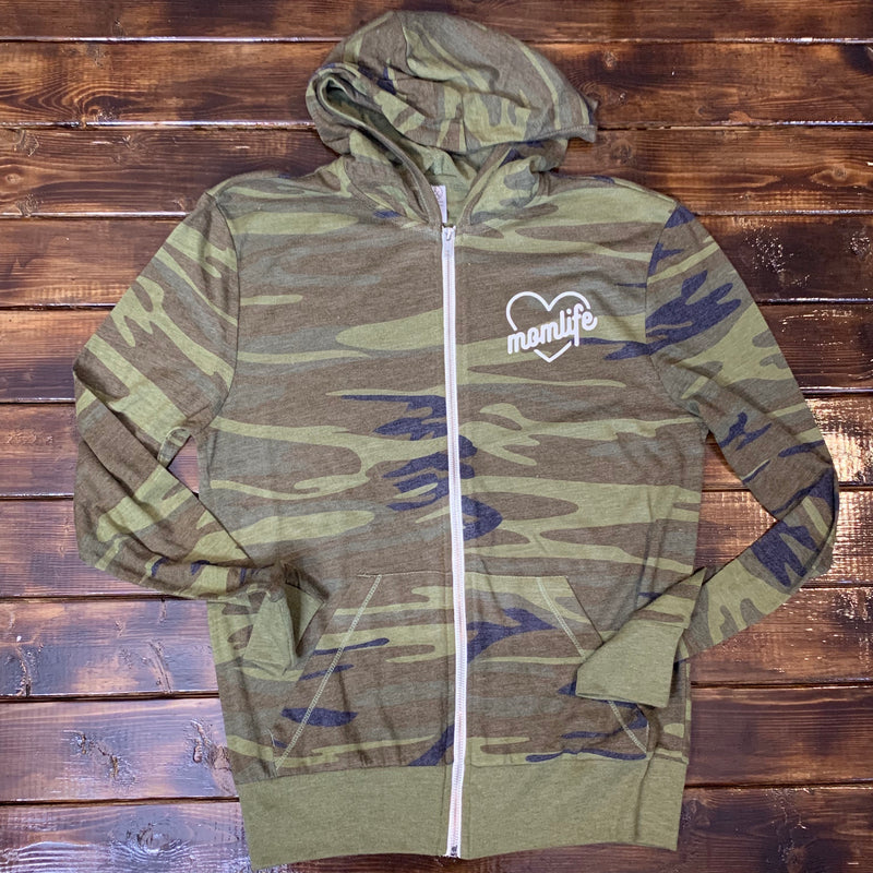 Momlife Heart - Unisex Camo Zip Up-Little Hooligans Co.