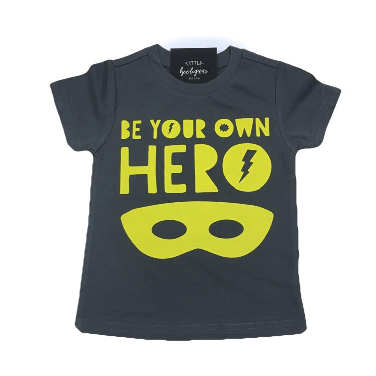 Be Your Own Hero (Yellow) - Kids Charcoal Tee - Little Hooligans Co.