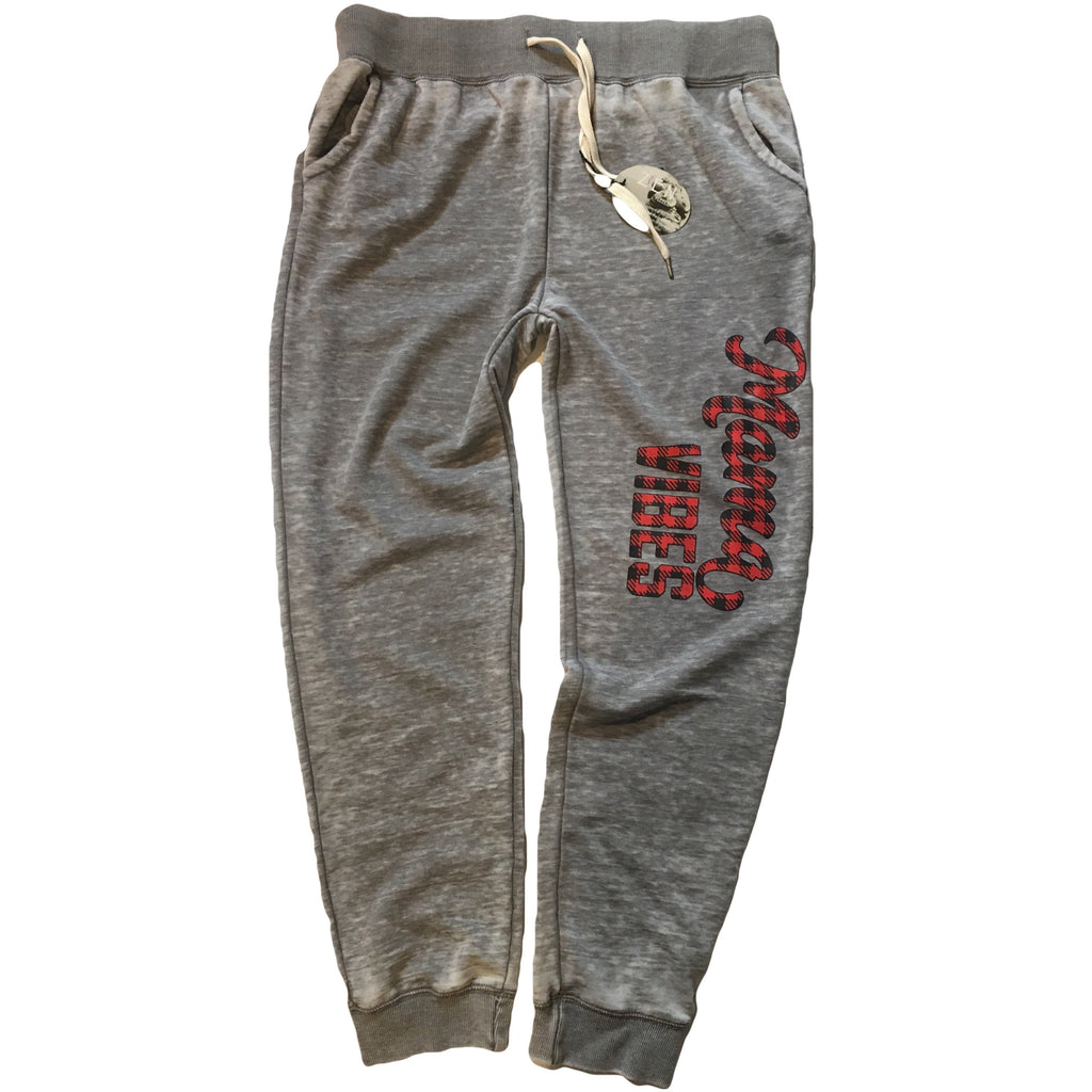 Mama Vibes - Plaid Joggers-Little Hooligans Co.