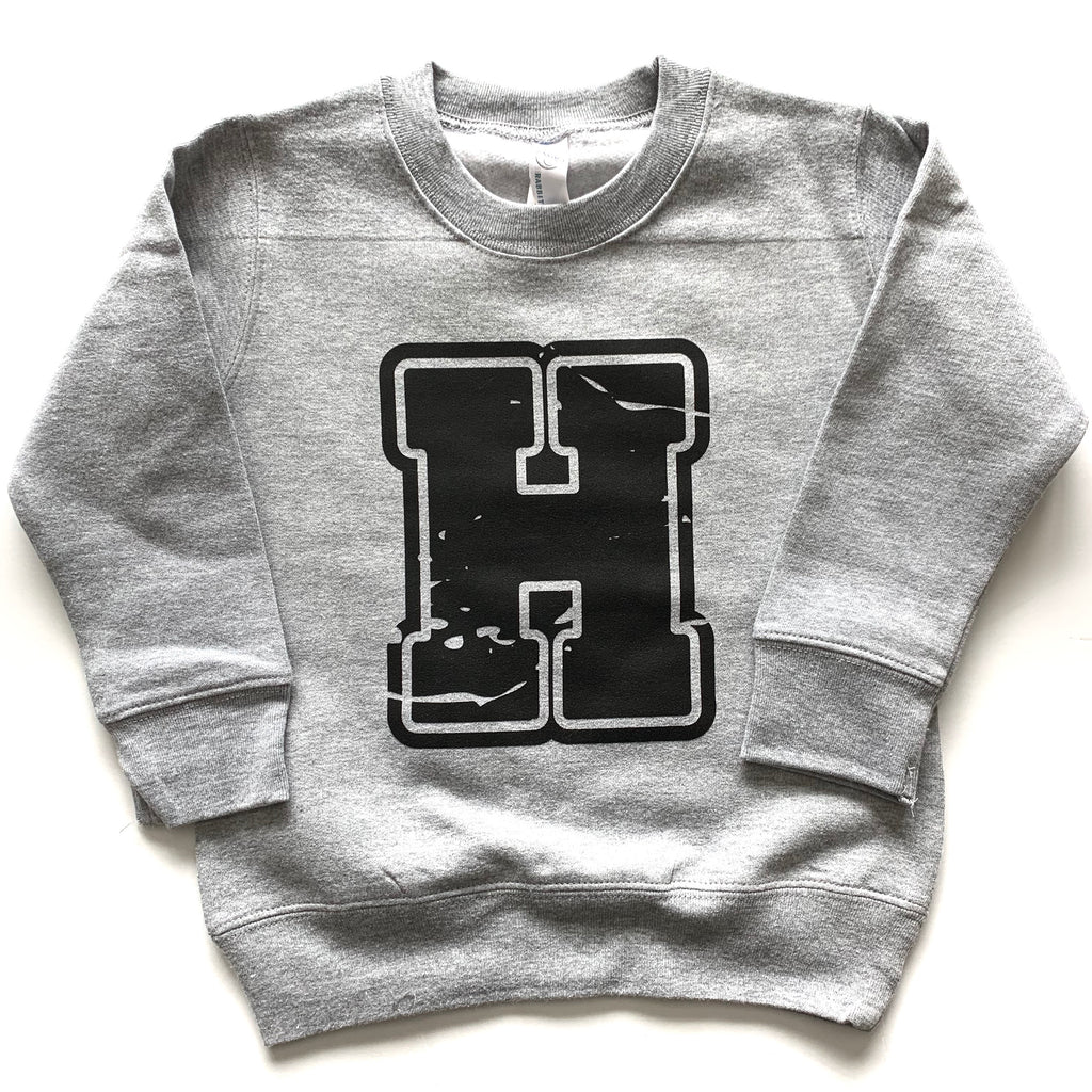 Varsity H - Grey Fleece Pullover - Little Hooligans Co.