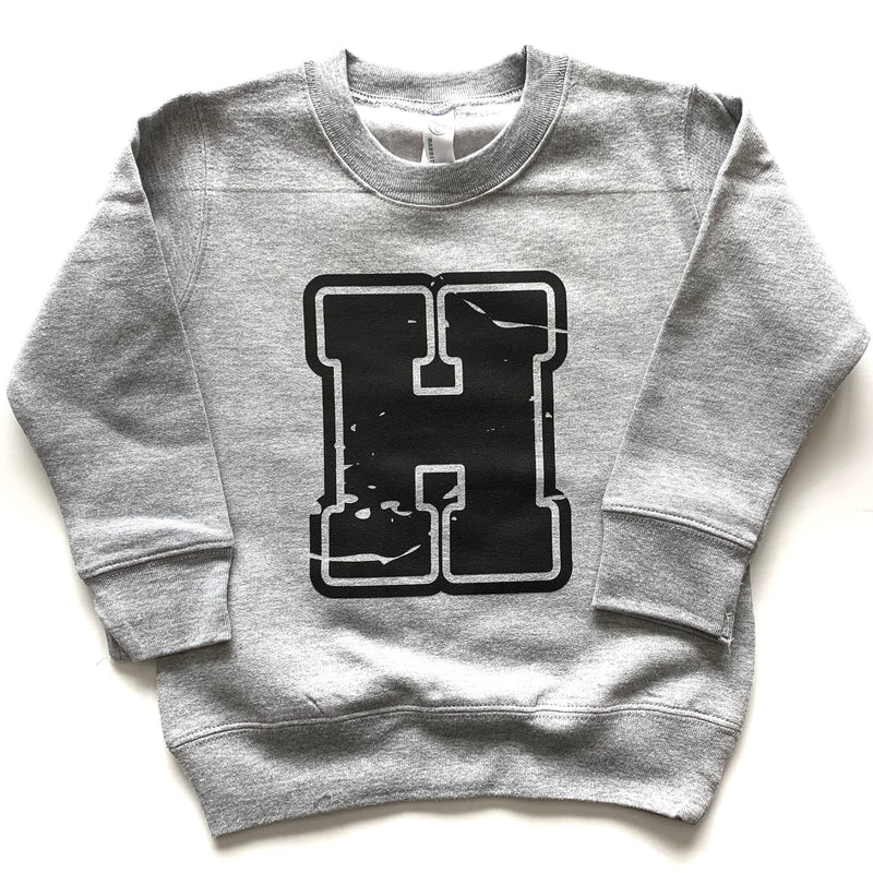 Varsity H - Grey Fleece Pullover-Little Hooligans Co.