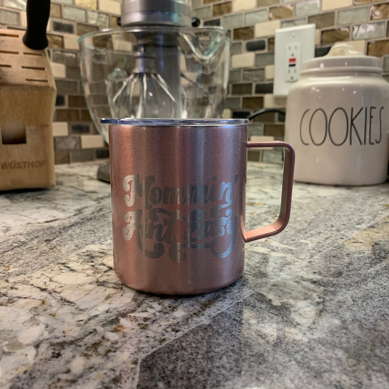 Mommin' Ain't Easy - Rose Gold Stainless 12oz Mug-Little Hooligans Co.