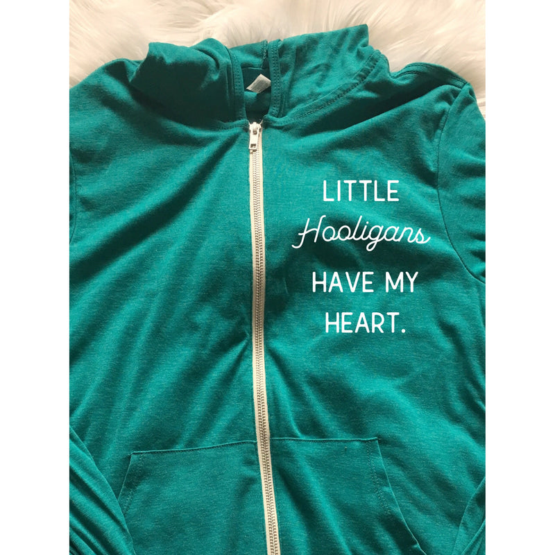 Little Hooligans Have My Heart - Unisex Zip Hoodie (Teal)-Little Hooligans Co.