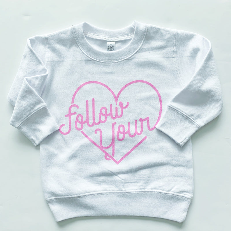 Follow Your Heart - White Fleece Pullover-Little Hooligans Co.