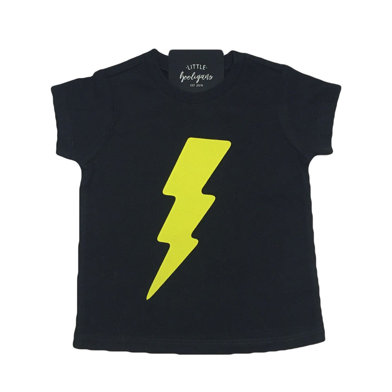 Lightening Bolt (Yellow) - Kids Black Tee - Little Hooligans Co.