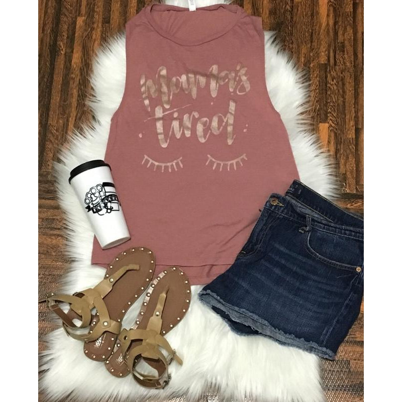 Mauve Rose Gold - Mama's Tired Muscle Tank-Little Hooligans Co.