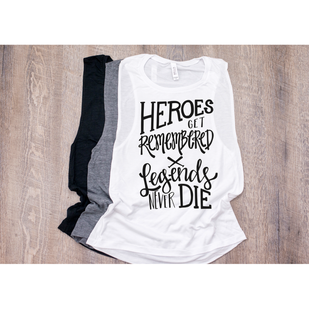Heroes Get Remembered - Womens Muscle Tank-Little Hooligans Co.