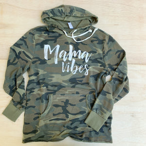 Mama Vibes - Unisex Camo + White French Terry Pullover-Little Hooligans Co.