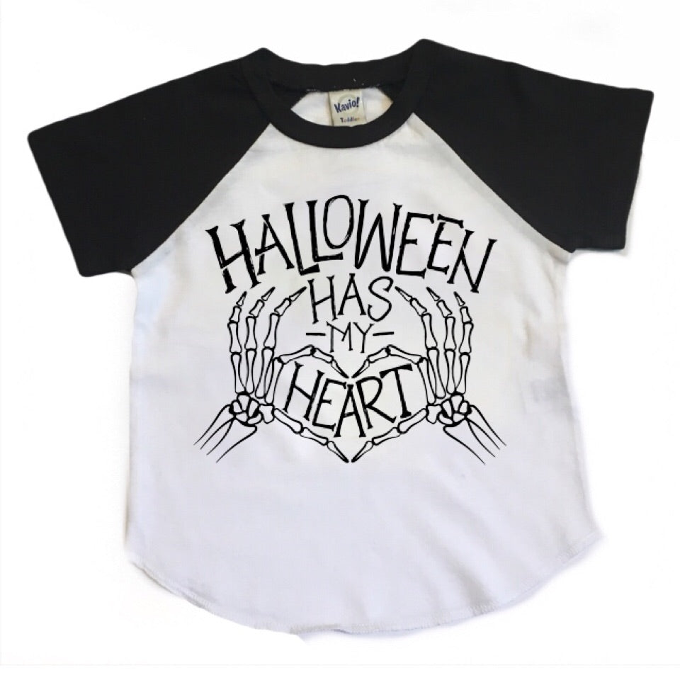 Halloween Has My Heart - Kids Short Sleeve Raglan - Little Hooligans Co.