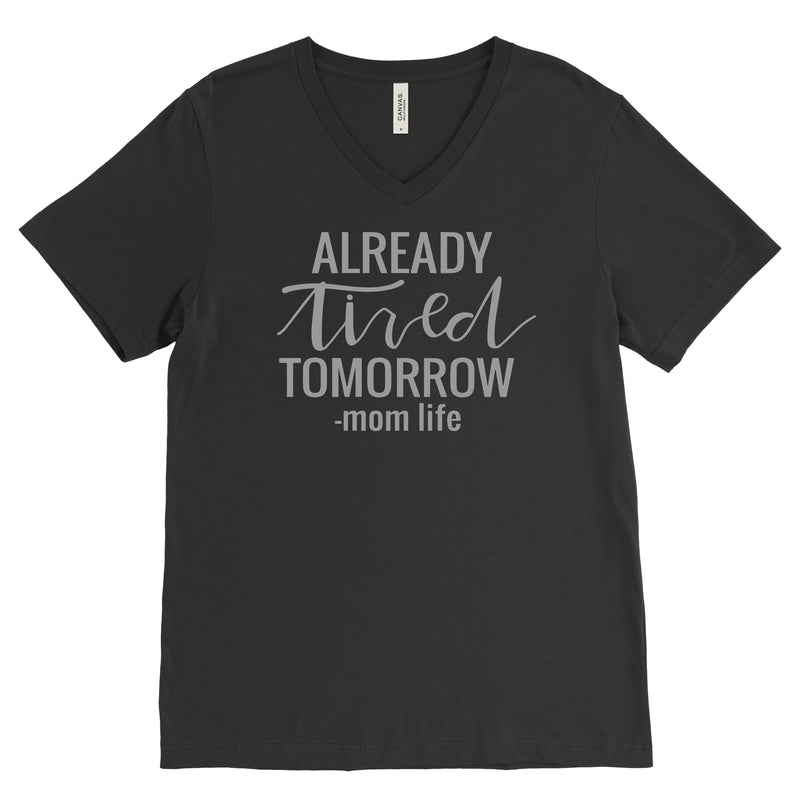 Already Tired Tomorrow Black & Grey - Unisex Vneck-Little Hooligans Co.