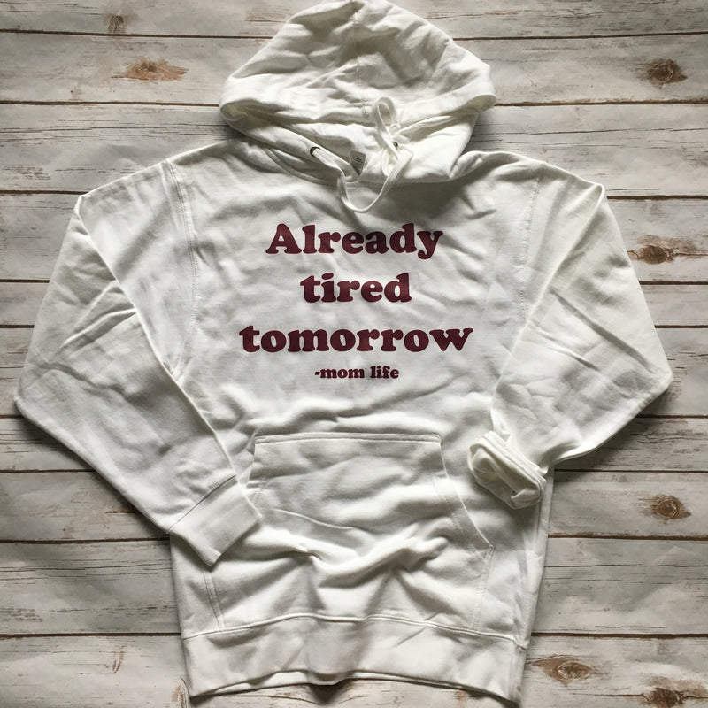 Already Tired Tomorrow - White + Cranberry Unisex Hoodie-Little Hooligans Co.