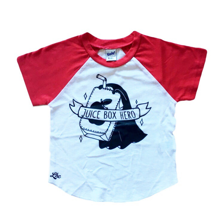 Juice Box Hero - Red Short Sleeve Raglan - Little Hooligans Co.