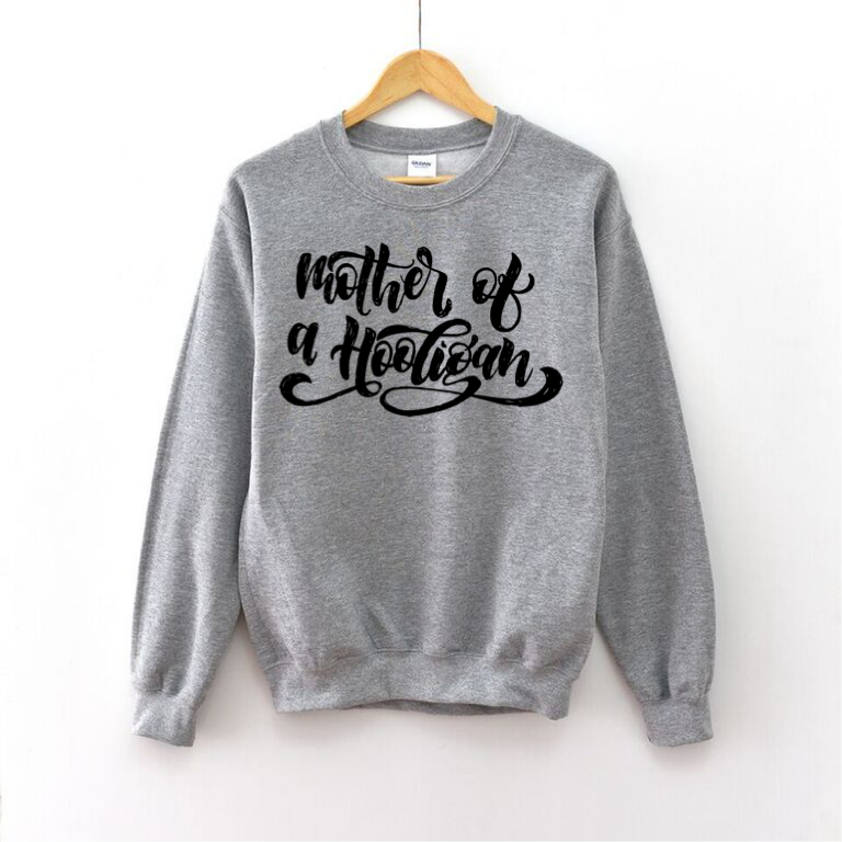 Mother of a Hooligan (Grey + Black) - Unisex Fleece Pullover-Little Hooligans Co.