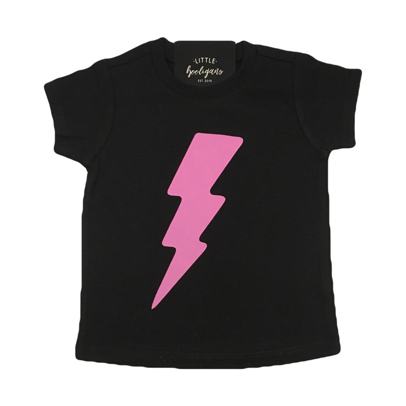 Lightening Bolt (Pink) - Kids Black Tee-Little Hooligans Co.
