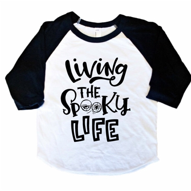 Living the Spooky Life - Kids 3/4 Sleeve Raglan-Little Hooligans Co.