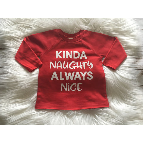Kinda Naughty - Kids French Terry Pullover-Little Hooligans Co.