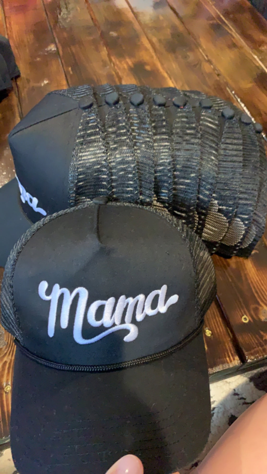 Mama - MESH Black Embroidered Hat-Little Hooligans Co.