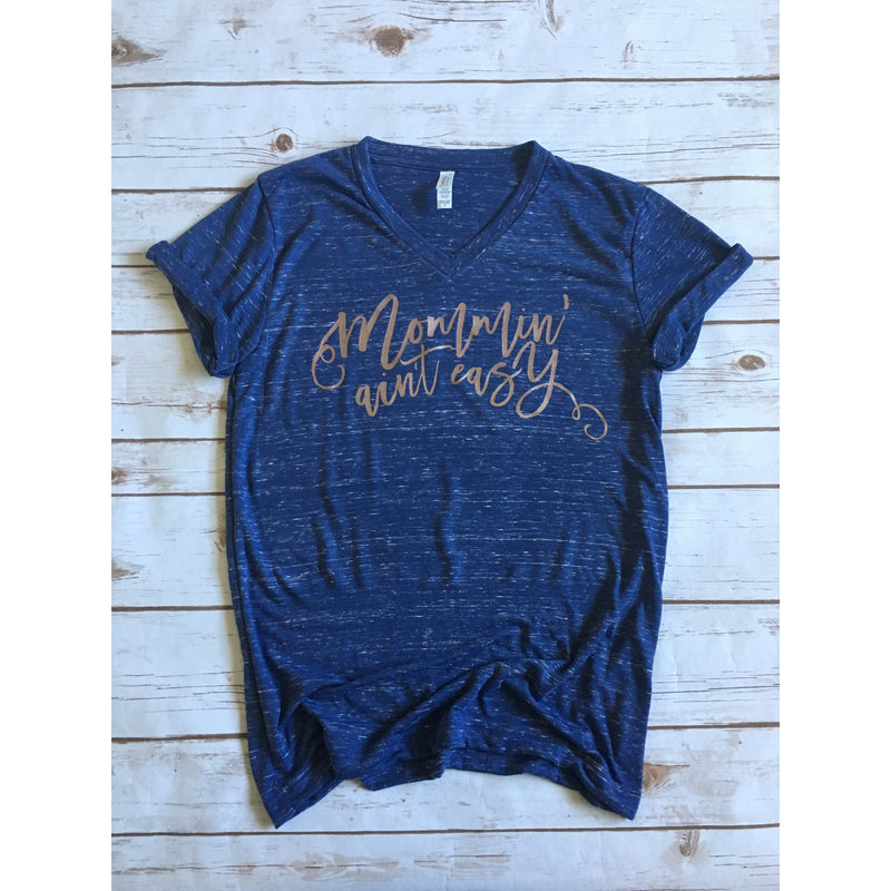 Unisex Navy Marble - Rose Gold Mommin' Ain't Easy-Little Hooligans Co.