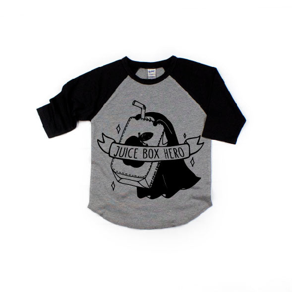 Juice Box Hero - Black/Grey Raglan-Little Hooligans Co.