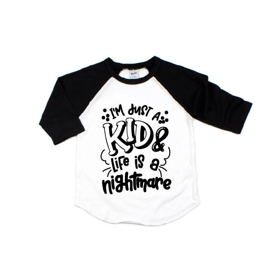 Im Just A Kid - Black/White Raglan-Little Hooligans Co.