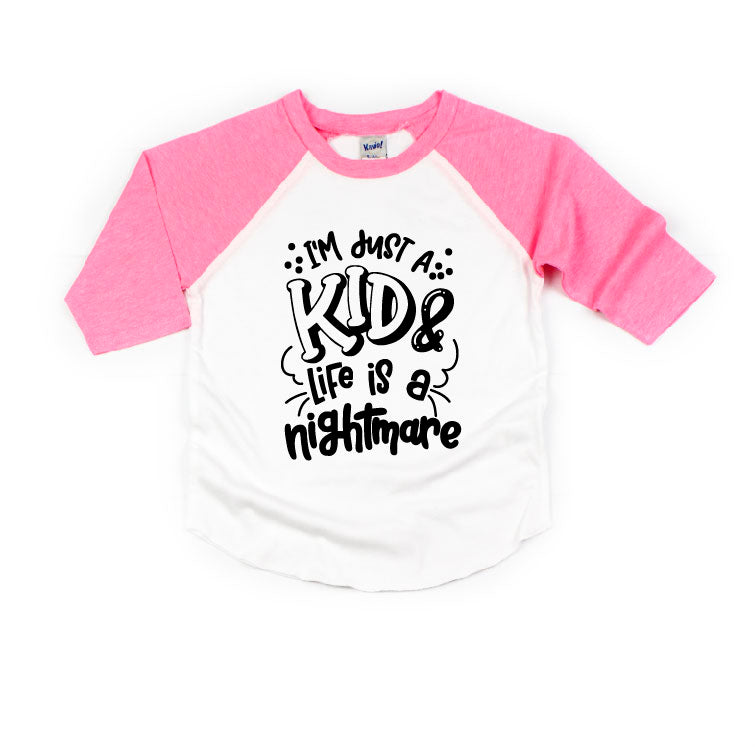 Im Just A Kid - Pink/White Raglan-Little Hooligans Co.