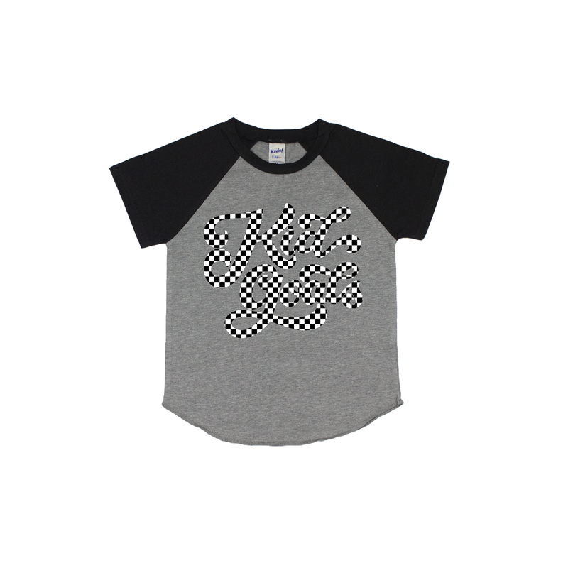 Kid Goals {checkered} - Grey/Black Short Sleeve Raglan - Little Hooligans Co.
