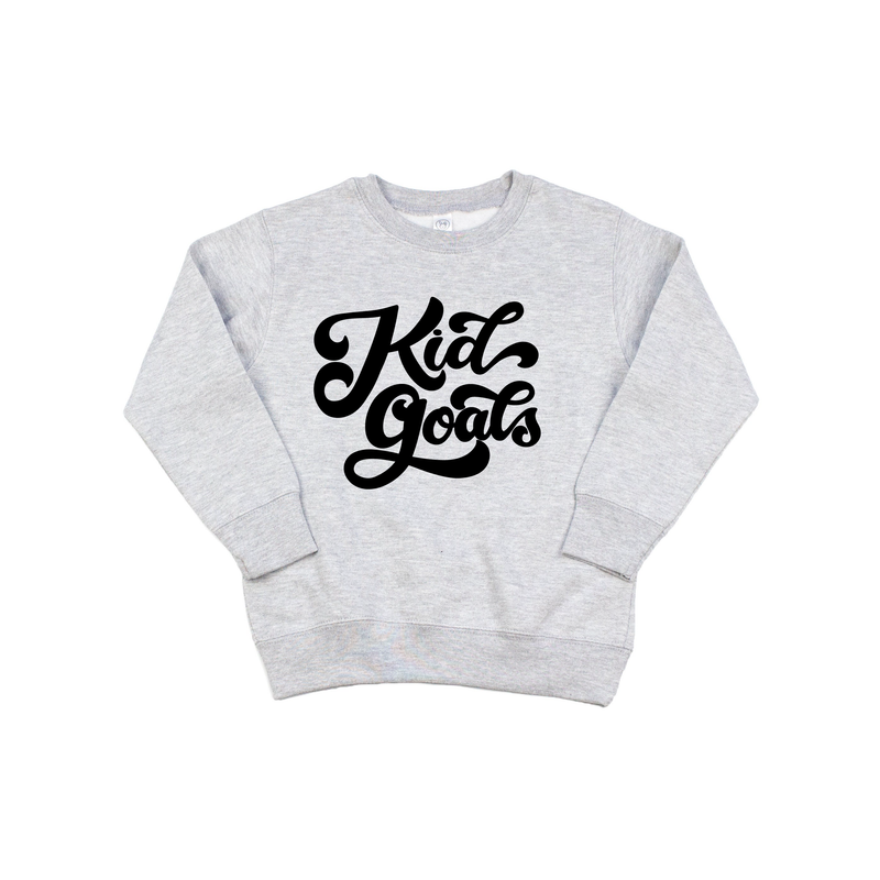 Kid Goals - Grey Fleece Pullover-Little Hooligans Co.