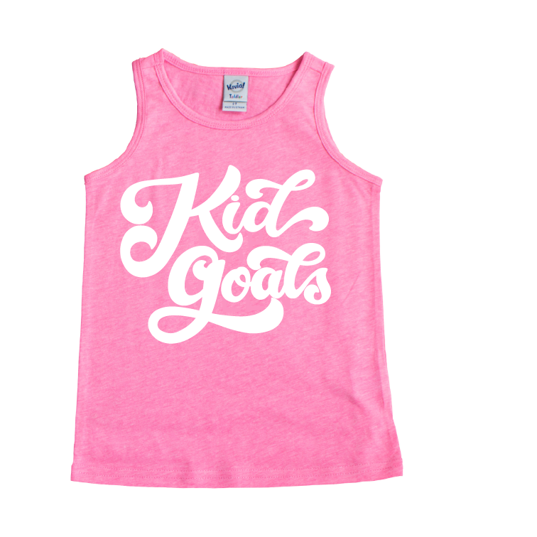 Kid Goals - Pink + White Tank-Little Hooligans Co.