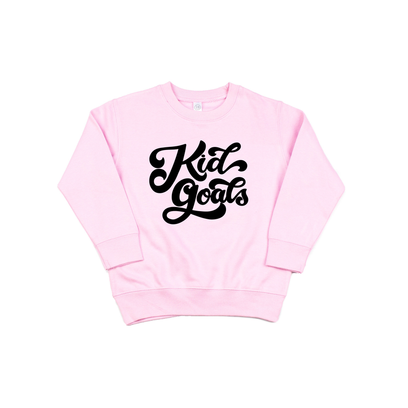 Kid Goals - Pink Fleece Pullover-Little Hooligans Co.