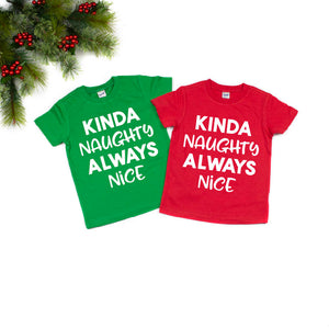 Kinda Naughty, Always Nice - RED Tee-Little Hooligans Co.