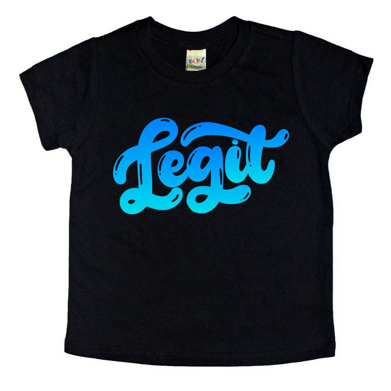 Legit - Blue Ombre Black Tee-Little Hooligans Co.
