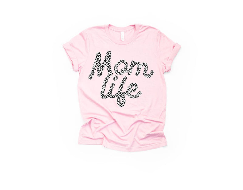 Mom Life (Snow Leopard) - Unisex Pink Tee-Little Hooligans Co.
