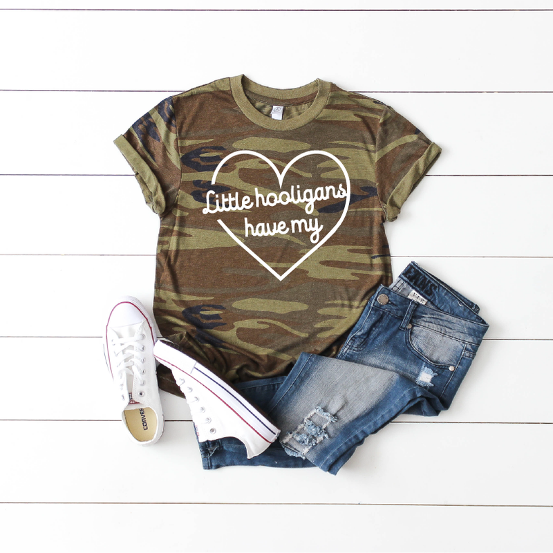 Little Hooligans Have My Heart - Unisex Camo Tee - Little Hooligans Co.