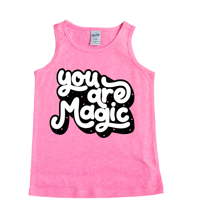 You Are Magic - Pink + Black/White Tank-Little Hooligans Co.