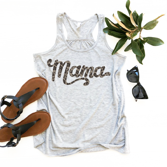 Mama Leopard Print - Womens Grey Racerback Tank-Little Hooligans Co.