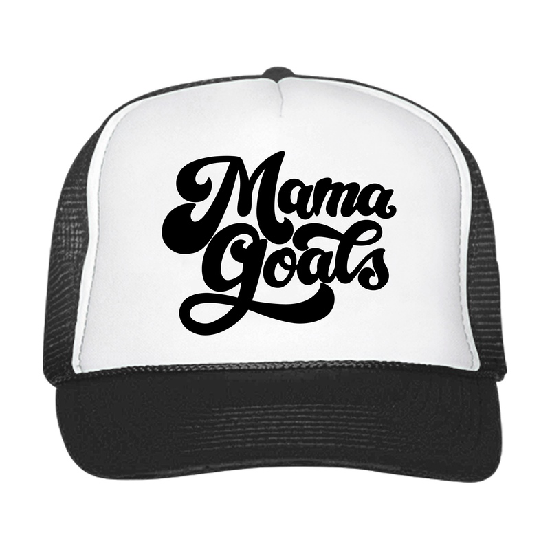 Mama Goals - Black + White Snapback-Little Hooligans Co.