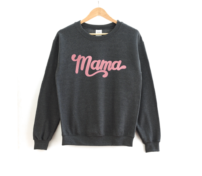 Mama - Heather Charcoal Pullover-Little Hooligans Co.