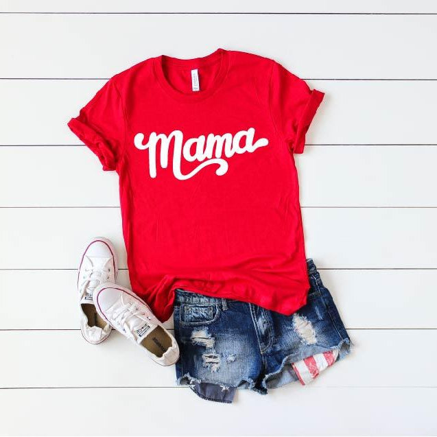 Mama - Unisex Red + White Crew Neck-Little Hooligans Co.