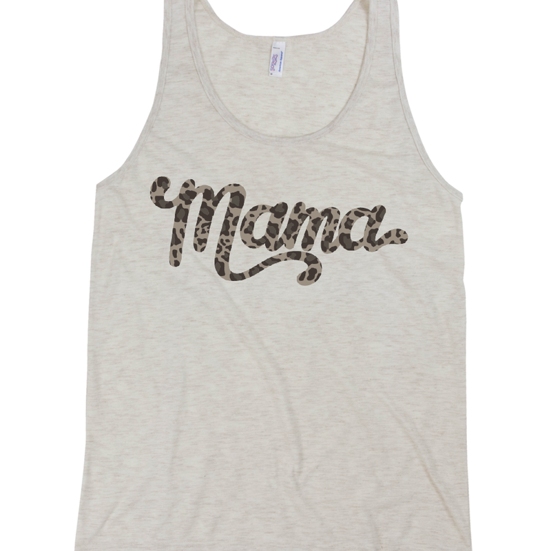 Mama Leopard Print - Unisex Oatmeal Tank-Little Hooligans Co.