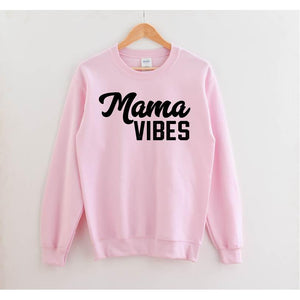 Mama Vibes - Black + Pink Pullover-Little Hooligans Co.