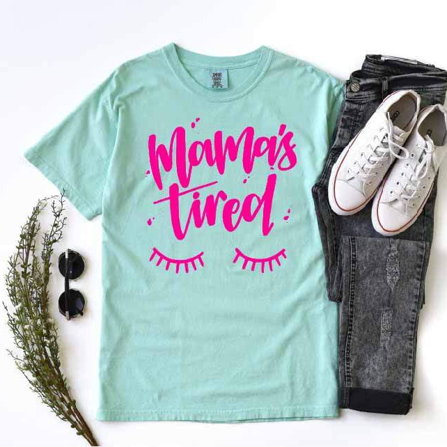 Mama's Tired - Unisex Mint + Pink Crewneck-Little Hooligans Co.