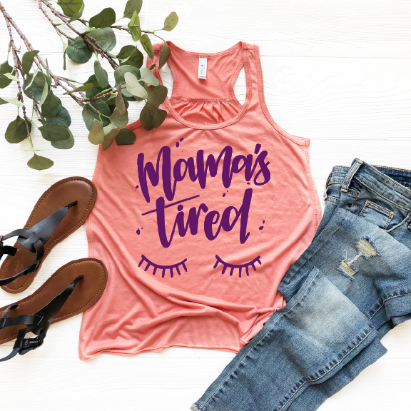Mama's Tired - Sunset + Purple Womens Racerback-Little Hooligans Co.