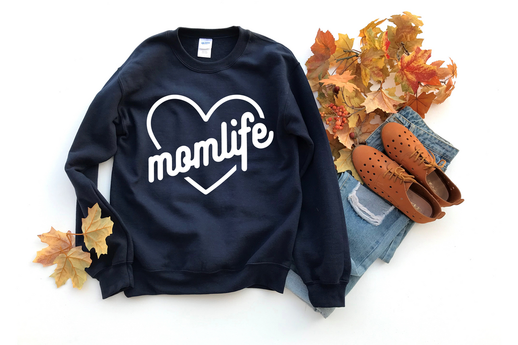 Momlife (Heart) - Unisex Navy Pullover-Little Hooligans Co.