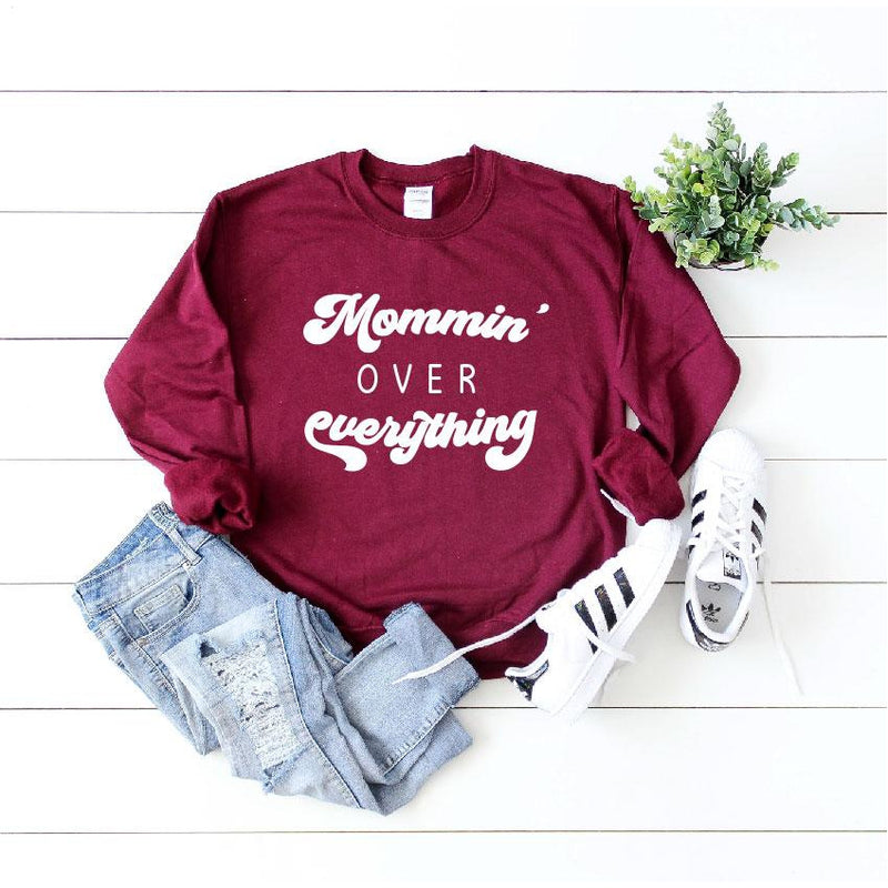 Mommin' Over Everything - Unisex Fleece Pullover-Little Hooligans Co.