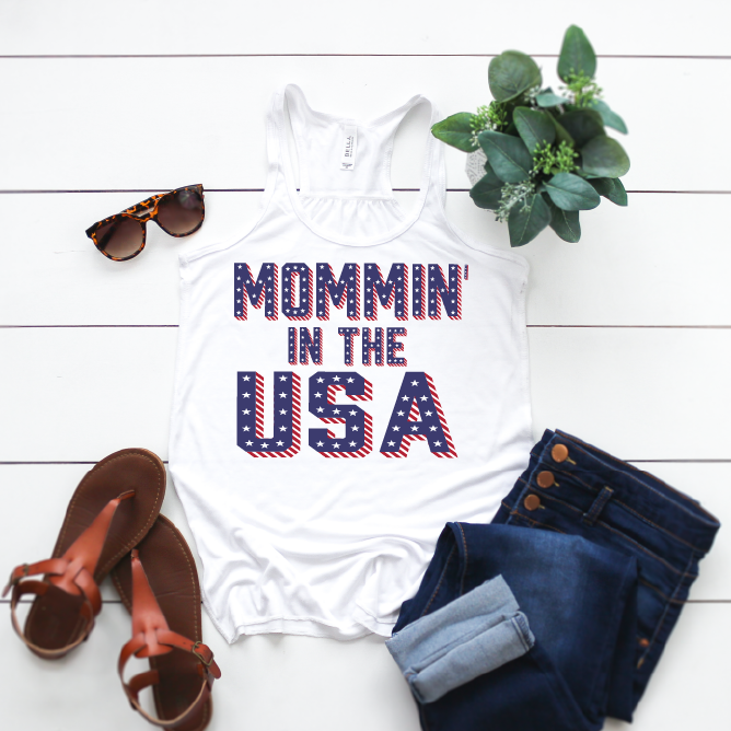 Mommin' In The USA - Womens Tank-Little Hooligans Co.