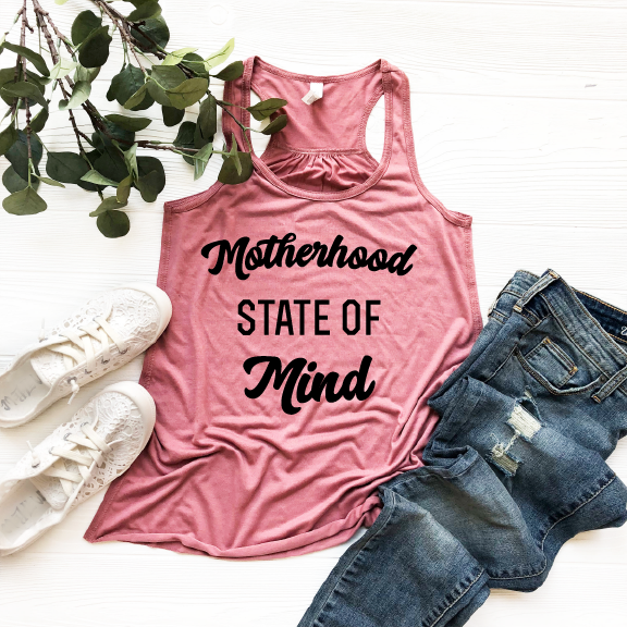 Motherhood State of Mind - Mauve + Black Womens Racerback-Little Hooligans Co.