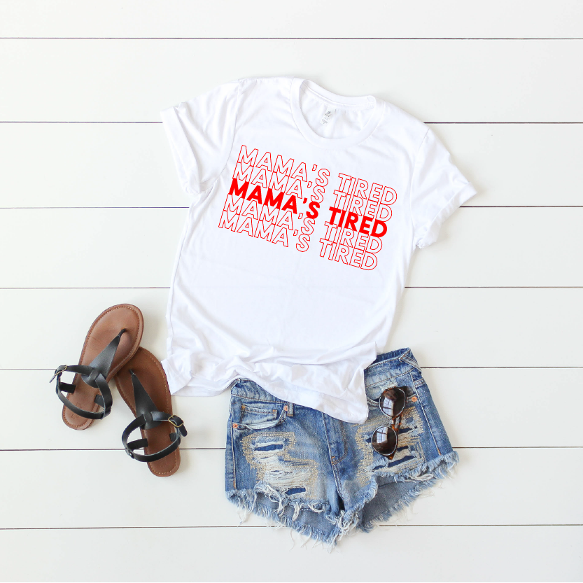 Mama's Tired {repeat} - White + Red Unisex Crewneck-Little Hooligans Co.